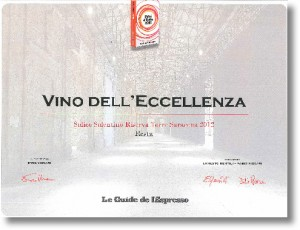 Attestato Vino dell'Ecc. Torre Saracena 2012. 2